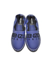 KENZO Blue Gommato Leather Platform Slippers