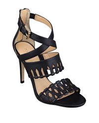 Ivanka Trump Black Drita Leather Stiletto Sandals