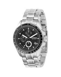 Fossil Metallic Men's Chronograph Decker Stainless Steel Bracelet Watch 40mm Ch2600 for men