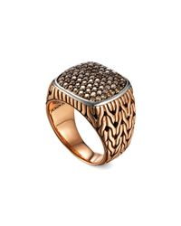 John Hardy - Metallic Men's Classic Chain Silver/bronze Ring With Diamonds for Men - Lyst