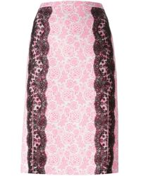 Christopher Kane - Pink Lace-paneled Printed Crepe Skirt - Lyst
