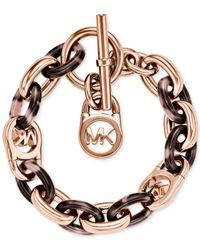 Michael Kors | Pink Rose Gold-tone Fulton Bracelet | Lyst