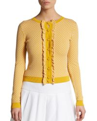 RED Valentino | Yellow Diamond-stitch Ruffled Sweater | Lyst