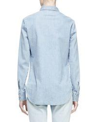 Stella McCartney - Blue Floral-embroidered Denim Shirt - Lyst
