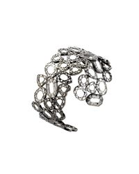 Lestie Lee | Metallic Fancy Diamond Charms Cuff Rhodium | Lyst
