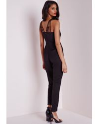 Missguided - Gray Multi Strap Tailored Jumpsuit Black - Lyst