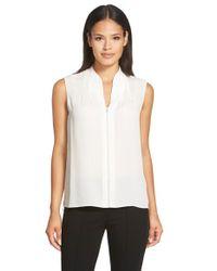 Elie Tahari White 'judith' Sleeveless Silk Asymmetrical Hem Blouse