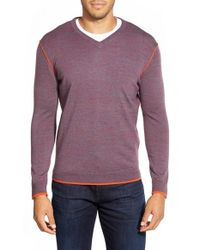 Bugatchi | Purple V-neck Merino Wool Sweater for Men | Lyst