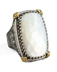 Konstantino | White Rectangular Mother Of Pearl Selene Ring | Lyst