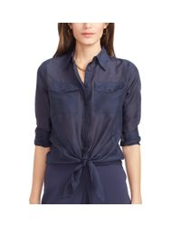 Ralph Lauren | Blue Silk-cotton Shirt | Lyst
