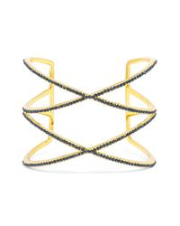 BaubleBar - Blue 'double Helix' Pave Cuff - Navy/ Gold - Lyst
