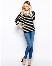 Oasis - Multicolor Sparkle Stripe Scoop Back Tshirt - Lyst