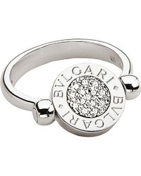 BVLGARI | - 18kt White-gold And Pavé-diamond Flip Ring | Lyst