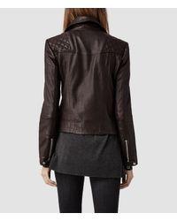 AllSaints Purple Bleeker Leather Biker Jacket