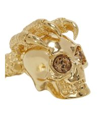 Alexander McQueen | Metallic Gold Tone Skull And Talon Ring | Lyst