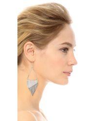 Iosselliani - Metallic Fringe Triangle Earrings - Silver - Lyst