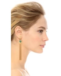 Ben-Amun - Metallic Drop Strand Earrings - Gold/green - Lyst