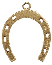 Annina Vogel Metallic Vintage Gold Thin Horseshoe Charm