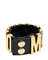 Moschino - Metallic Logo Letting Leather Bracelet - Lyst