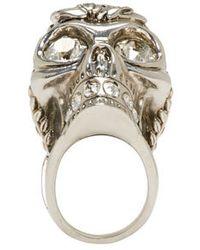 Alexander McQueen | Metallic Silver Skull Poppy Ring | Lyst