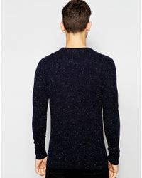 SELECTED | Blue Crew Neck Sweater With Fleck for Men | Lyst