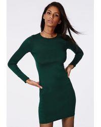 Missguided Rainey Long Sleeve Bodycon Dress Deep Green