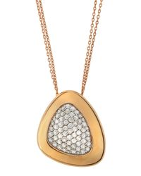 Roberto Coin - Metallic 18k Rose Gold Capri Plus Pav Diamond Necklace - Lyst