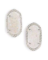 Kendra Scott | Metallic 'ellie' Oval Stone Stud Earrings - Iridescent Drusy/ Silver | Lyst