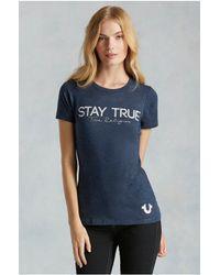 True Religion | Blue Stay True Womens Tee | Lyst