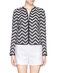 Armani - Black Chevron Cotton Blend Tweed Jacket - Lyst