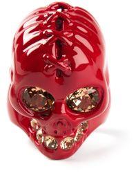 Alexander McQueen Red Embellished Ring for men