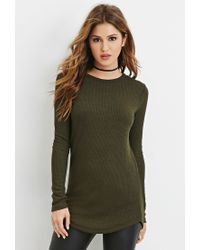 Forever 21 - Green Ribbed Knit Tunic - Lyst