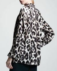 Lanvin Black Leopard-print Satin Blouse