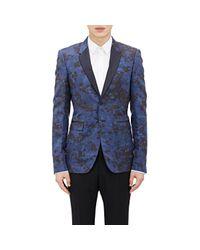 Barneys New York Blue Slub Tuxedo Jacket for men