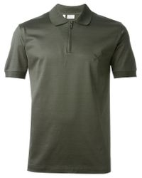 Brioni Green Zip Collar Polo Shirt for men
