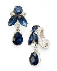 Anne Klein | Blue Cluster Drop Clip Earrings | Lyst