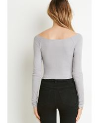 Forever 21 - Gray Ribbed Crop Top - Lyst
