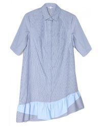 Thakoon Addition - Blue Stripe Ruffle Hem Shirt Dress - Lyst