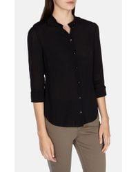 Karen Millen Black Stripe Military Shirt
