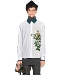 Andrea Pompilio Green Anatomy Printed Cotton Poplin Shirt for men