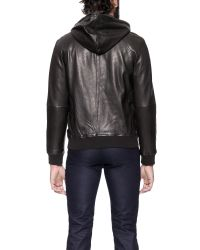 Marc By Marc Jacobs - Black Leather Hooded Jacket for Men - Lyst