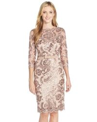 Tadashi Shoji | Pink Embroidered Lace Belted Dress | Lyst