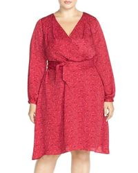 Adrianna Papell | Red Print Crepe De Chine Faux Wrap Dress | Lyst
