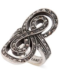 Lucky Brand - Metallic Silver-Tone Pavé Infinity Ring - Lyst