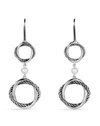 David Yurman White Infinity Doubledrop Earrings with Pearls