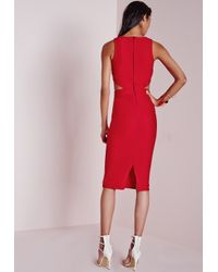 Missguided | Crepe Sleeveless Cut Out Midi Dress Red | Lyst