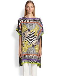 Etro | Multicolor Zebra Printed Silk Poncho | Lyst