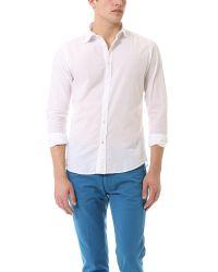Hartford White Slim Fit Cotton Voile Shirt for men