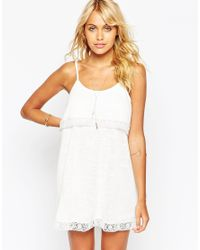 ASOS | Natural Tiered Cami Dress With Cotton Lace | Lyst