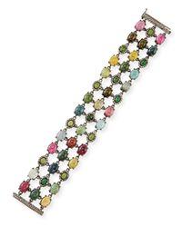 Bavna | Green Mixed Tourmaline & Diamond Station Bracelet | Lyst
